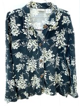 Large Travel Smith Women's Jacket Floral Linen Faux Suede Lot Travelsmith - $48.50