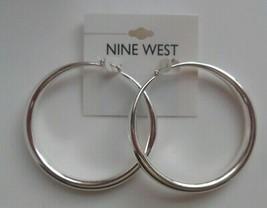 NINE WEST Large Silver-tone Hoop Earrings - $17.99