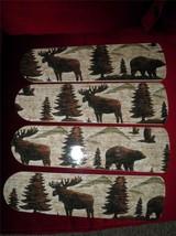 Custom~Bear Moose Elk Eagle Mountains Ceiling Fan -BROWN Green Tan Tones - $98.99