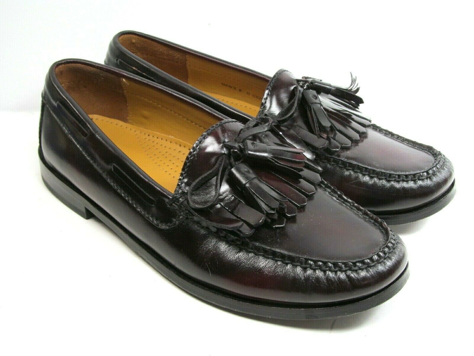 Primary image for Cole Haan Tassle Bow Mens Loafers Size 8 D EUC Burgundy/Black