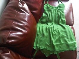 Designer baby doll dress green Zara pure silk fully lined UK Size M, S - $45.00