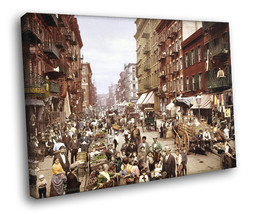 Manhattan Little Italy 1900 New York City Retro Decor Framed Canvas Print - $14.96+