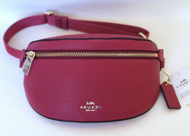 Coach Polished Pebbled Leather Belt Bag Fanny Pack Bright Cherry Pink 39... - $107.90