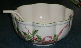 N S Gustin LA Pottery Christmas Holly Large Punch Bowl With Ladle - VERY... - $82.44