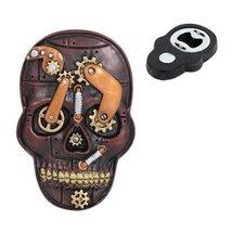Bronzed Steampunk Skull Magnet Bottle Opener Figurine Made of Polyresin - $9.90