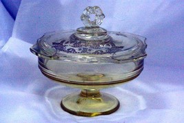 Paden City 1930 Gothic Garden Yellow Footed Lidded Candy Dish - $76.22