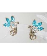 Coro Mid Century Modern Aqua & Crystal Rhinestone Flower Earrings 50s - $19.55