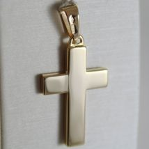 Yellow Gold Cross Pendant 750 18k, Square, finely worked, Made in Italy image 3