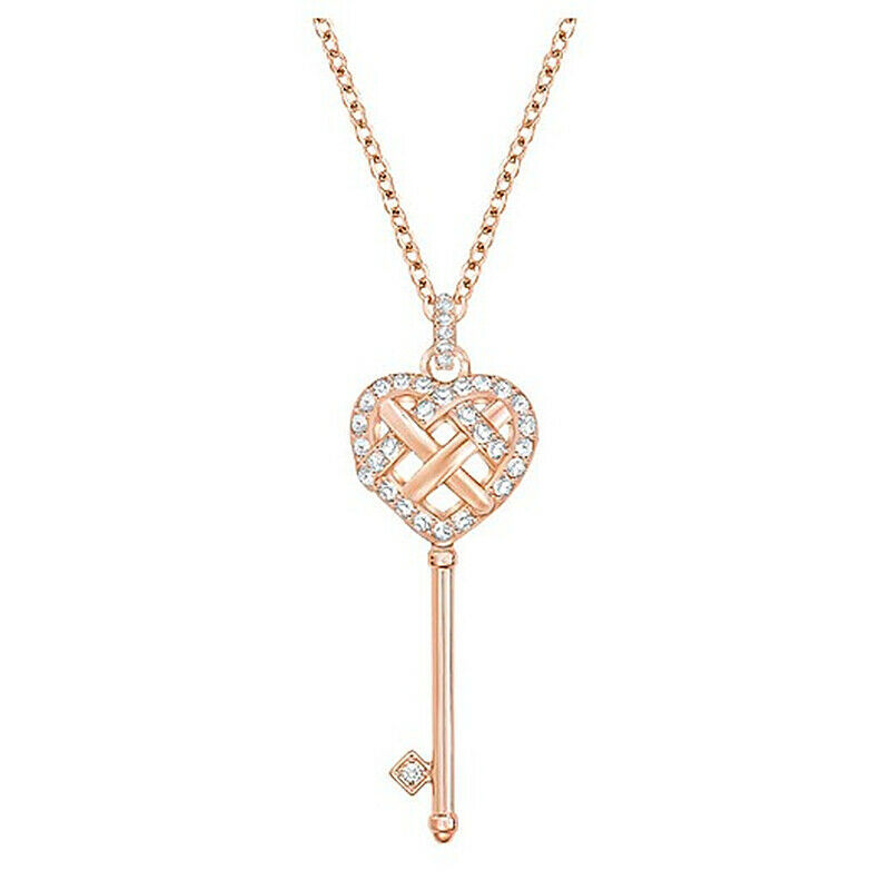 Swarovski skeleton key necklace Open heart clavicle chain Necklace jewelry gift image 4