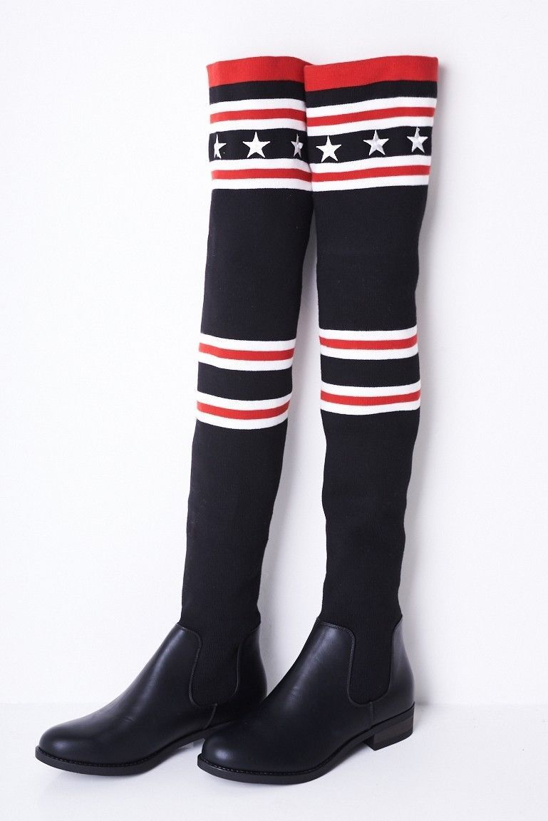 Over The Knee Stretch Sock Boots Sizes : 3, 4, 5, 6, 7, 8 Brand New