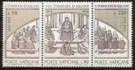 1974 Thomas Aquinas Strip of 3 Vatican Postage Stamps Catalog Number 557a MNH