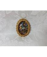 Brooch Large Oval Handmade Bead Embroidery Wearable Art Resin Focal Opal... - $45.00