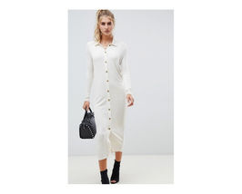 Asos Design Rib Maxi Polo Shirt Dress With Buttons Ivory Size US 10 NWT - €16,76 EUR