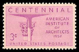 1957 3c American Institute of Architects, 100th Scott 1089 Mint F/VF NH - $0.99