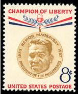 1957 8c Ramon Magsaysay, President of the Philippines Scott 1096 Mint F/... - €0,87 EUR