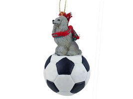 Poodle Gray Soccer Ornament - $17.99