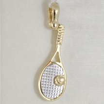 White Yellow Gold Pendant 750 18k, Tennis Racket, 2.7 cm, Made in Italy image 1