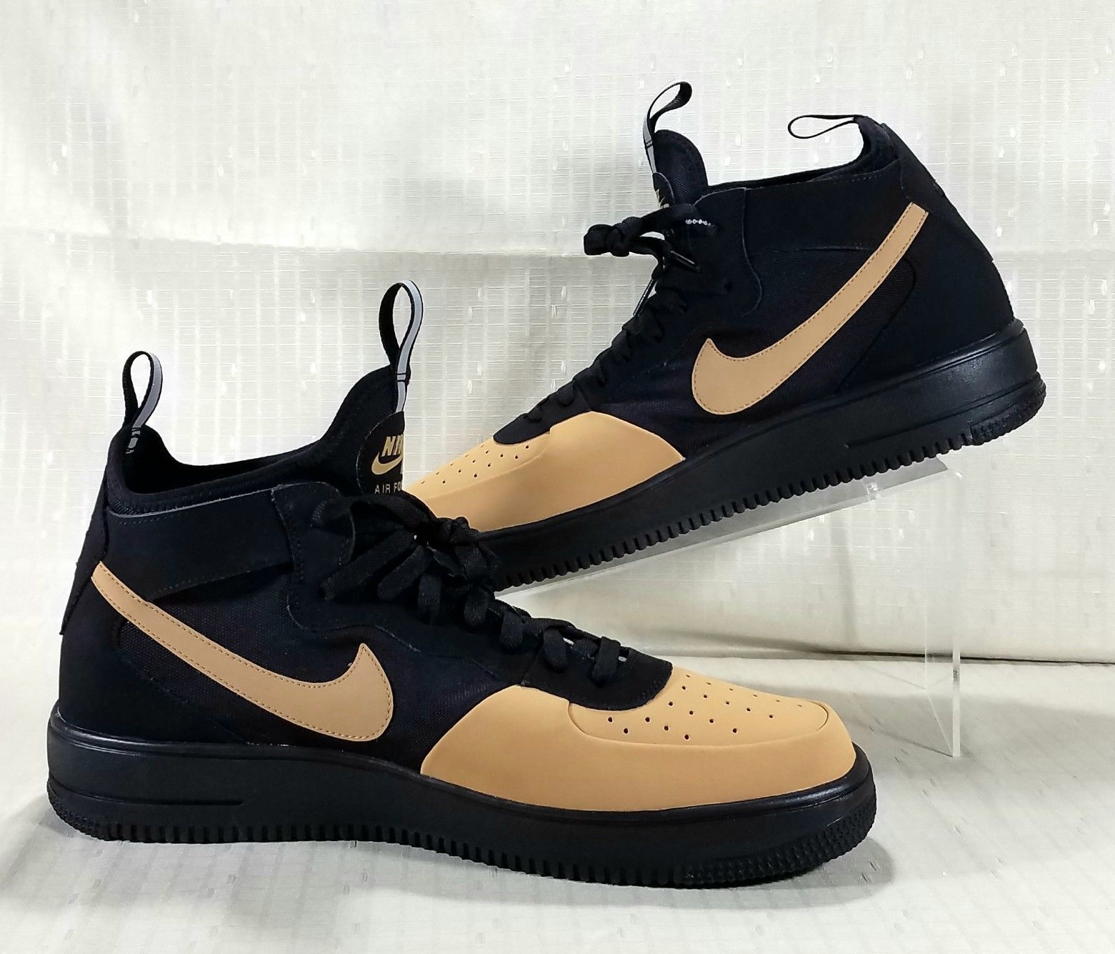 half off 5a541 71165 Nike Air Force 1 Ultraforce Mid Tech Shoes Mens Size 14 Black   Gold AH6746-