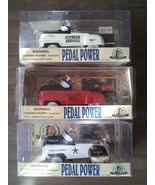 Set of 3 GOLDEN WHEEL Pedal Power pedal cars 1:10 scale diecast metal NIB - $9.00