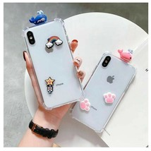 Phone Case For Xiaomi Cute Bear Whale Cat Claw DIY Cover Clear Flower Shockproof - $20.00