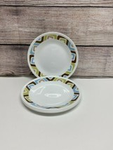 """CORELLE SQUARED BROWN GREEN SET OF 4 SALAD PLATES 6 3/4"""" - $19.79"""