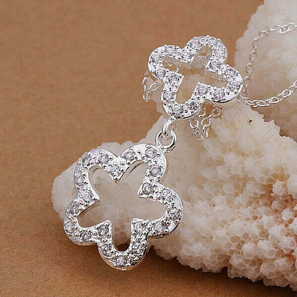 Primary image for Double Flower with Crystal Stones Pendant Necklace 925 Sterling Silver NEW