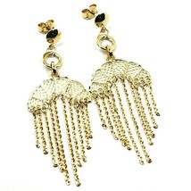 18K YELLOW GOLD PENDANT EARRINGS, 5.7 cm SUN WITH FRINGES, WATERFALL CHAINS image 2