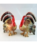Lefton style 1991 turkey salt pepper shaker set Thanksgiving holiday Japan - $20.89
