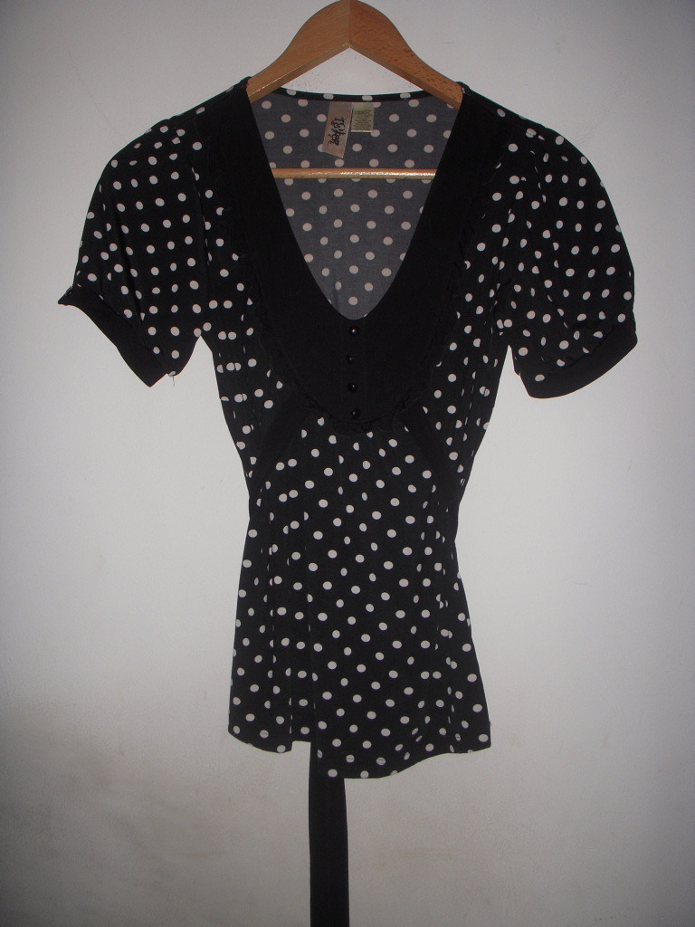 Black & White Polka Dot Ruffle tunic Blouse Top Free Anthropologie People S