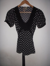 Black & White Polka Dot Ruffle tunic Blouse Top Free Anthropologie People S image 1