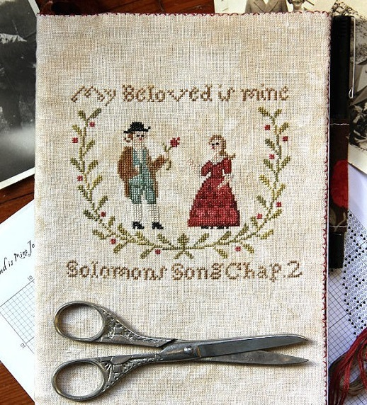 My Beloved Is Mine Journal Cover cross stitch chart Heartstring Samplery image 2