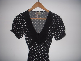 Black & White Polka Dot Ruffle tunic Blouse Top Free Anthropologie People S image 2