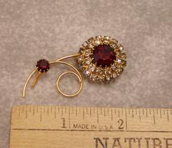 Retro Vintage Costume Brooch Pin Jewelry Goldtone Rudy Red Rhinestones F... - $23.75