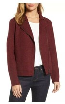 Eileen Fisher Claret Moto Boiled Wool Short Asymmetrical Zip Jacket XL N... - $110.40