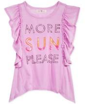 Kandy Kiss Girls More Sun Please Ruffle Sleeve T-Shirt (Purple, L) - $15.06