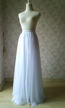 WHITE FULL TULLE Skirt White Wedding Bridal Tulle Maxi Full Skirts,petite-plus image 3