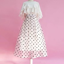 White Polka Dot Modi Skirt Outfit Summer High Waisted Plus Size Long Party Skirt image 1