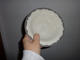 BUFFALO china rimmed dessert bowl GRAY CREST/WAVE restaurant ware - $7.00