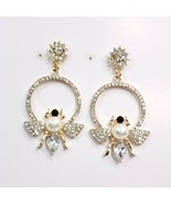 E0256 Gold Tone Clear Rhinestones Pearl Honey Bumble Bee Drop Dangle Ear... - $10.99