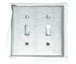 Leviton Stainless Steel 2-Gang Toggle Switch Cover Wall Plate 84009 NEW - $5.25