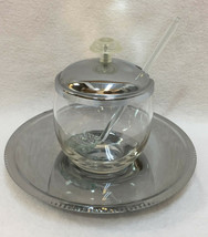 Jelly Sugar Bowl w/ Spoon & Tray Silver Color Stainless Clear Glass Vint... - $18.80