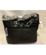 Giani Bernini Pebble Croc leather Shoulder Bag Hobo purse $150 Black - $48.46