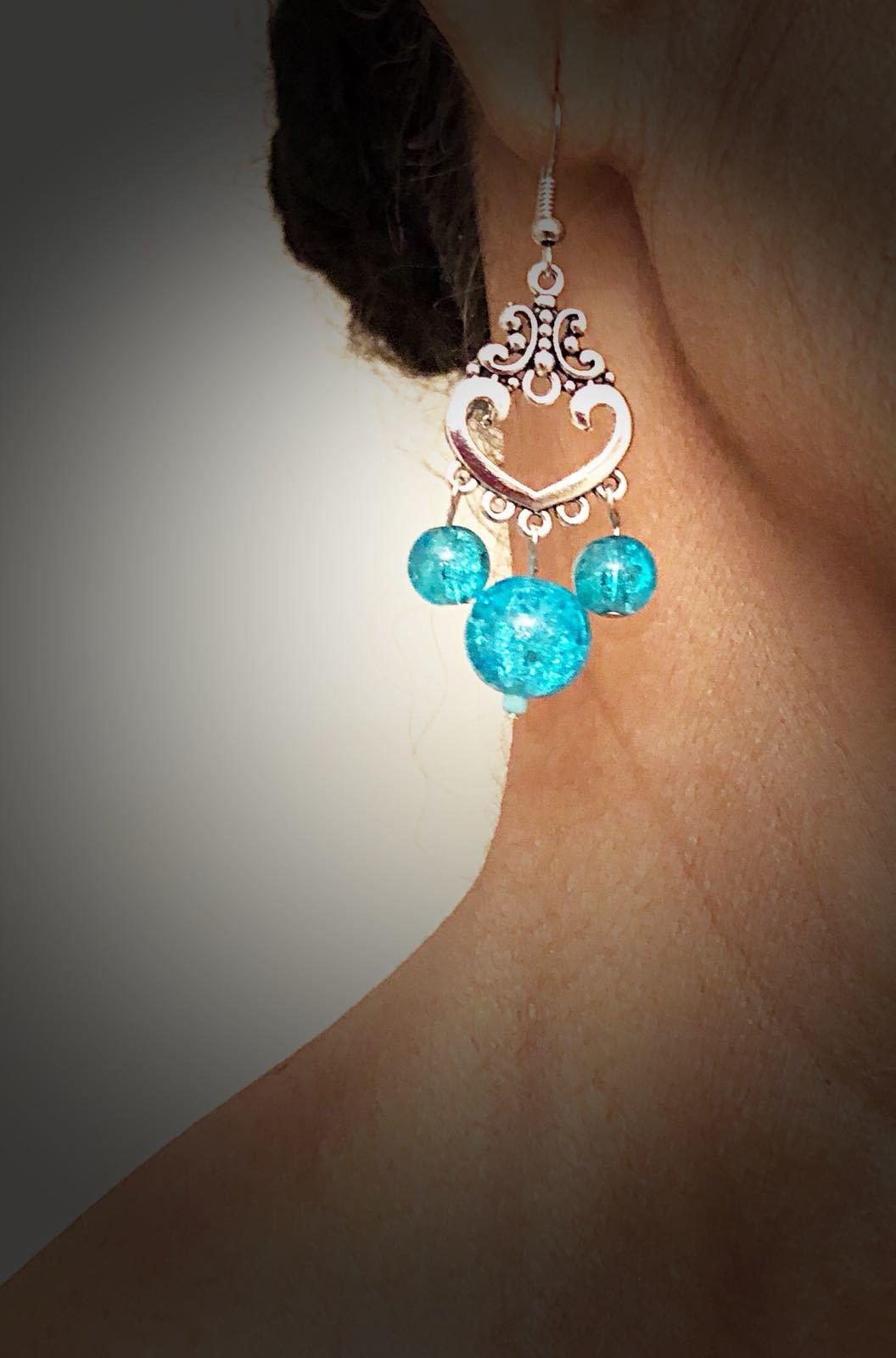 Bohemian Silver Blue Bead Vintage Earrings