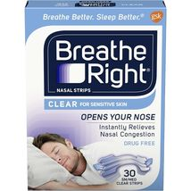Breathe Right Nasal Strips for Sensitive Skin 30 SM/MED Clear Strips - $8.95