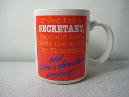 """If God Had A Secretary"" 1980s Hallmark typewriter font coffee mug - $5.45"