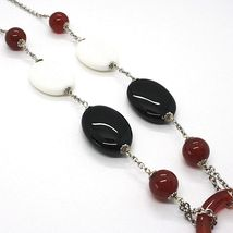 Silver 925 Necklace, Agate White, Onyx, Carnelian, Pendant, Chain Rolo ' image 3