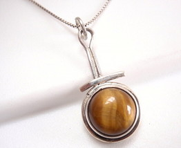 Round Tiger Eye 925 Sterling Silver Pendant Brown Corona Sun Jewelry New - $17.77