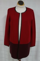 Talbots Open Front Wool Cardigan Sweater Red Womens M Long Faux Leather Trim - $22.26