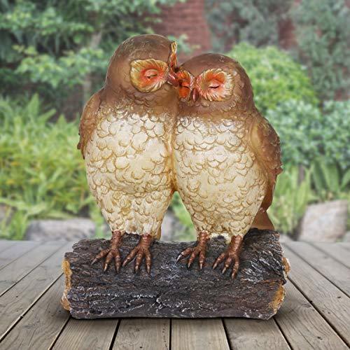 Exhart Solar Owls Statue – Owl Couple on Tree Stump, Solar Resin Statue -