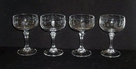 4 Princess House HERITAGE Etched Crystal Tall Champagne/Sherbet Glasses EX - $29.99